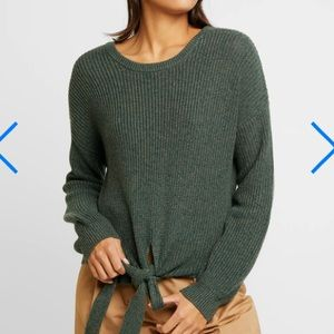 Hollister Multi-Way Tie Front Marled Olive Sweater